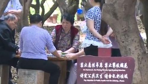 为制止公园内打牌 石桌桌面被拆掉