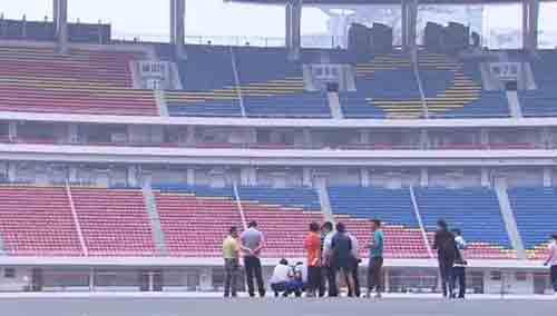 中国足协考察贺龙体育中心